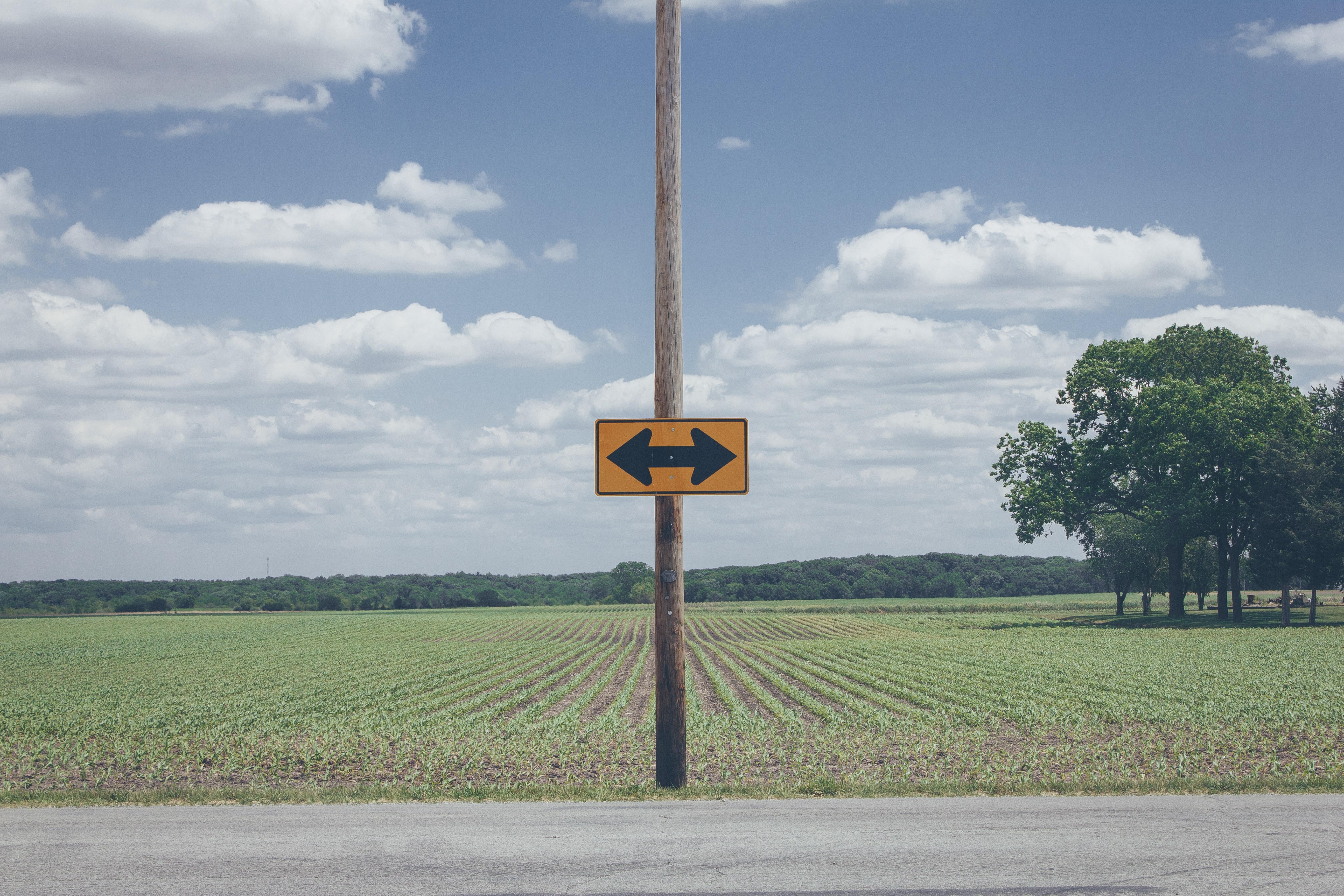 rozstaje dróg, oznaczone znakiem drogowym